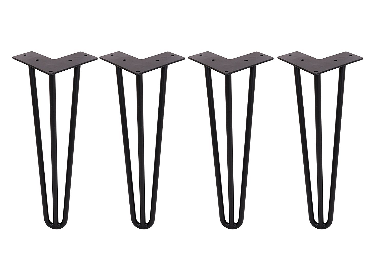 Yoler Hairpin Table Legs 16 Inches Satin Black, 3 rods, Set of 4 Heavy Duty Metal Coffee Table Legs