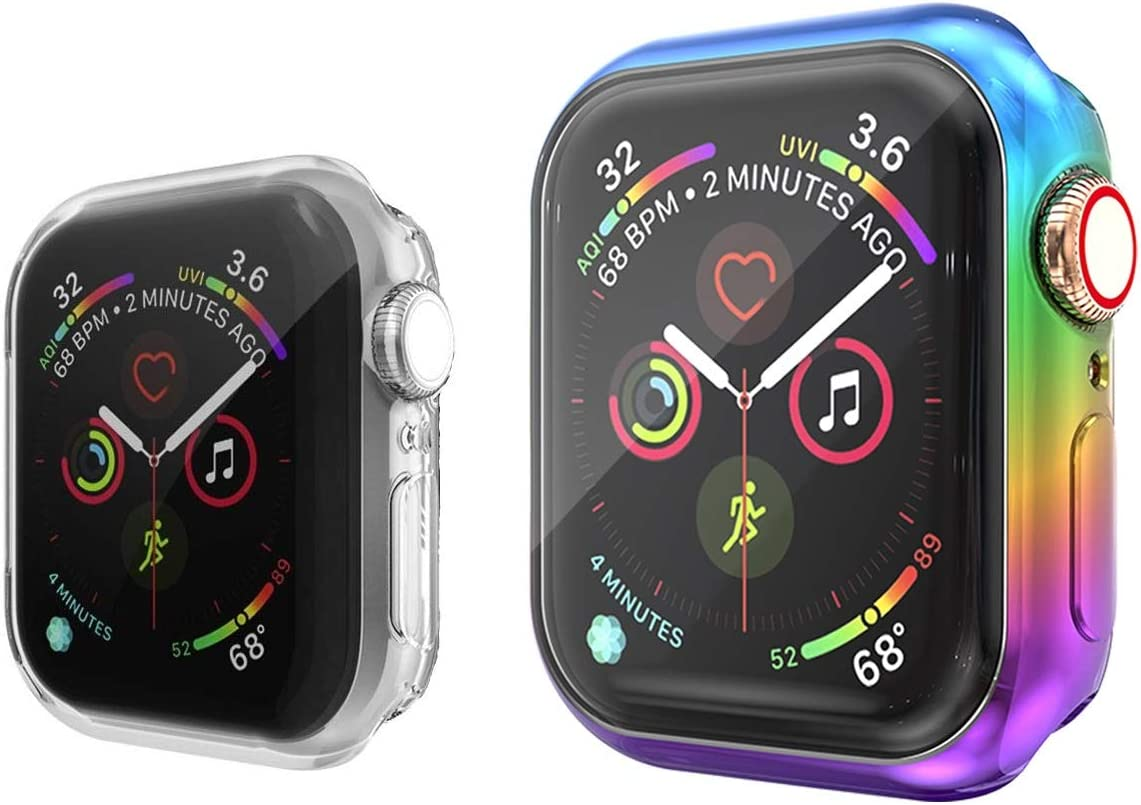 Greaciary 2-Pack Screen Protector Case Compatible with Apple Watch Series 5/4/3/2/1 38mm/40mm/42mm/44mm, Soft TPU Gradient Color Case All Around Protective Cover Bumper Shell (Black Purple, 40 mm)