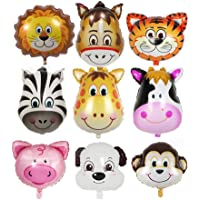 ED-Lumos 9Pcs Colorful Jungle Animals Reusable Helium Balloons for Birthday Party Decoration Children Kids Gift