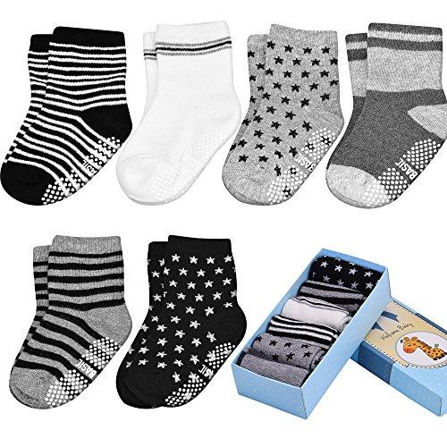 Toddler&Baby Socks, Non Slip, 6-Pack boxed set for 1-3 Year Baby Girls&Boys