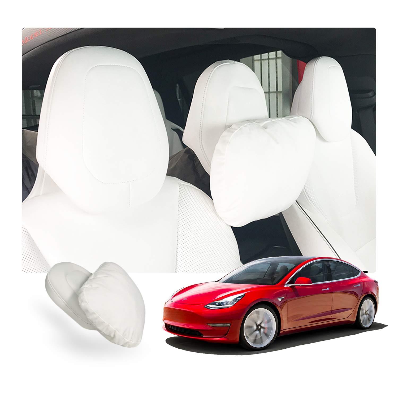 2PCS Soft Car Seat Headrest Neck Pillow Cushion for Tesla Model S X 3 White