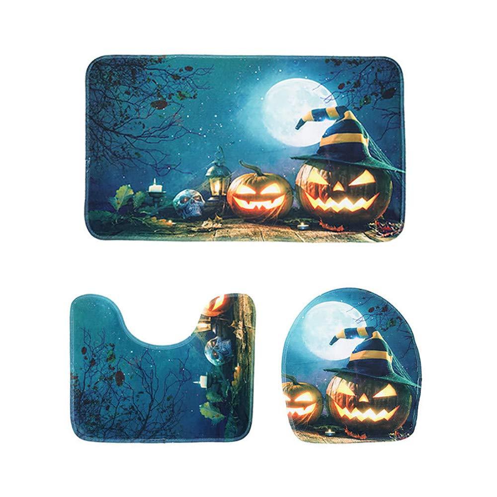 MatureGirl Bathroom Rug Mat - Bath Mat Carpet - Halloween Pumpkin Lantern Doormats Toilet Seat Cover and Rug Bathroom Set - Halloween Carpet Mats (D)
