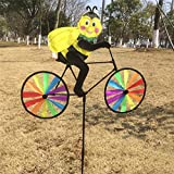 Delight eShop 3D Animal on Bike Windmill Wind Spinner Whirligig Lawn Yard Garden Home Decor (Bee)