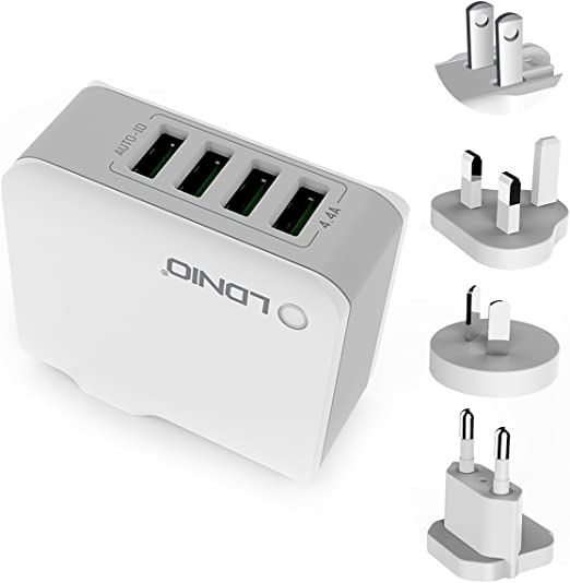 ORIA 4 USB Wall Charger, 22W Universal Wall Charger, 4.4A Travel Charger Adapter with UK,AU,EU Plugs for iPhone, 8 Plus, Smartphones, Mini 4, Samsung ...