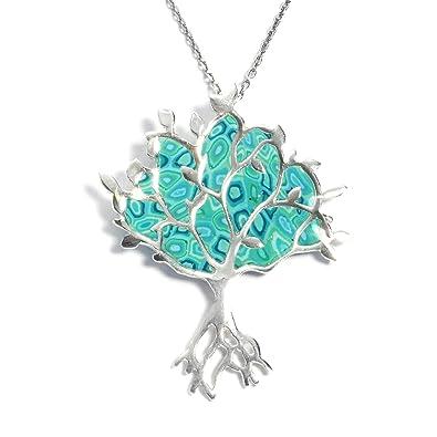 09689204e407d4 Adina Plastelina Handmade Jewellery Collier Pendentif Arbre de Vie  Majestueux - Bijoux Fait Main en Argent