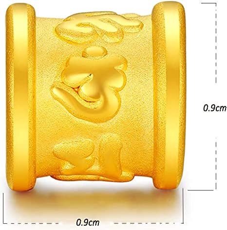 DX.GD@ Mujer Charm Bead 24K Amarillo Oro Columna Charms Abalorio ...