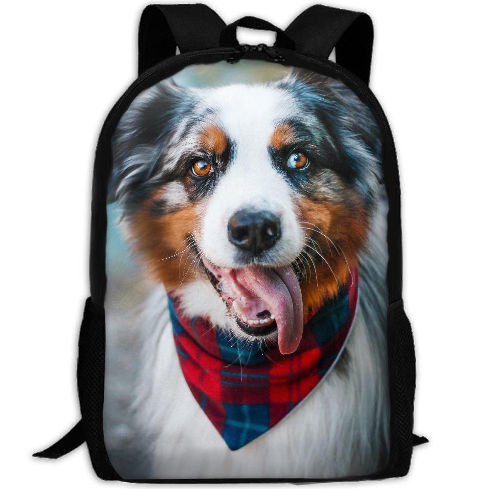 CY-STORE Australian Shepherd Animals Outdoor Shoulders Bag Fabric Backpack Multipurpose Daypacks For Adult