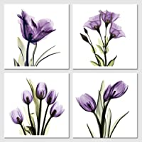 Pyradecor Elegant Purple Flickering Flower Canvas Prints Wall Art Grace Floral Pictures Paintings for Living Room Bedroom Office Home Decorations 4 Panel Modern Abstract Gallery Wrapped Giclee Artwork
