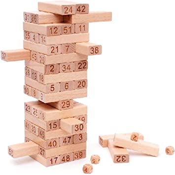 FunBlast Wooden Tumbling Tower, 48 Pieces Wooden Toys with Dices