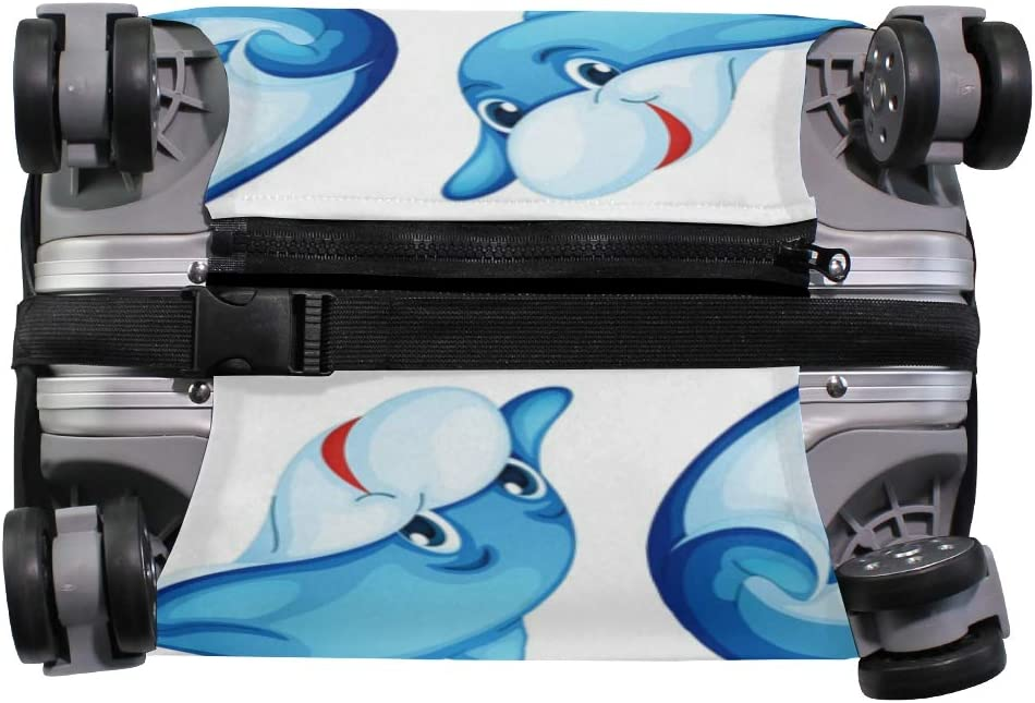 MALPLENA Blue Dolphin Pattern Luggage Protector Suitcase Cover
