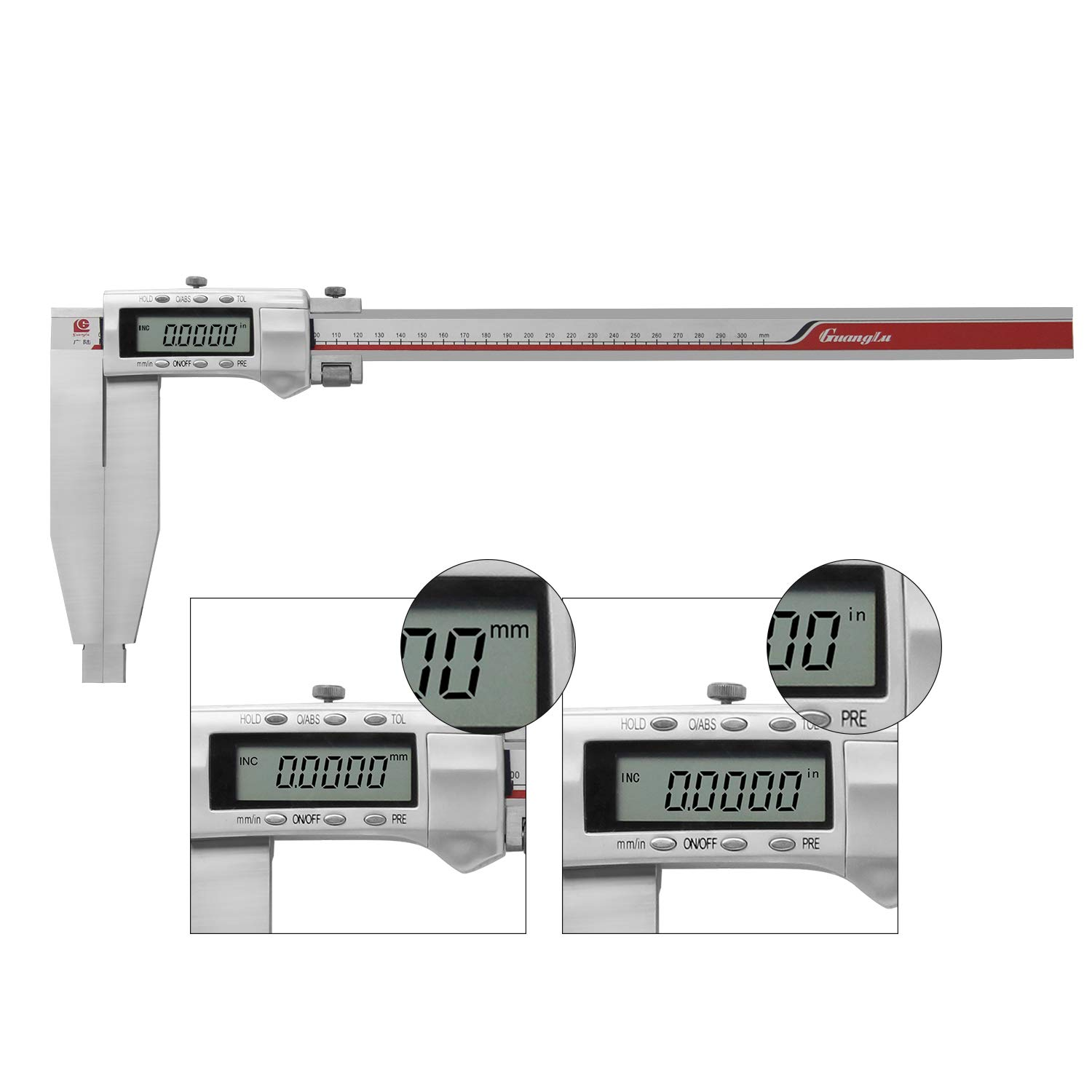 BAOSHISHAN 0-300mm//11.8 Inch Digital Caliper Vernier Caliper Stainless Steel with Long Jaw 150mm//6 Inch Measuring Tool Accuracy:0.01mm Unit mm//in