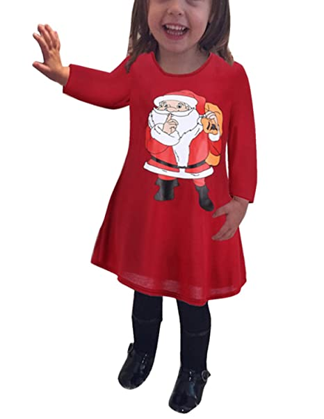 MODETREND Niñas Vestidos de Princesa Estampado Papá Noel Niños Manga Larga Vestido para Navidad Ceremonia Boda