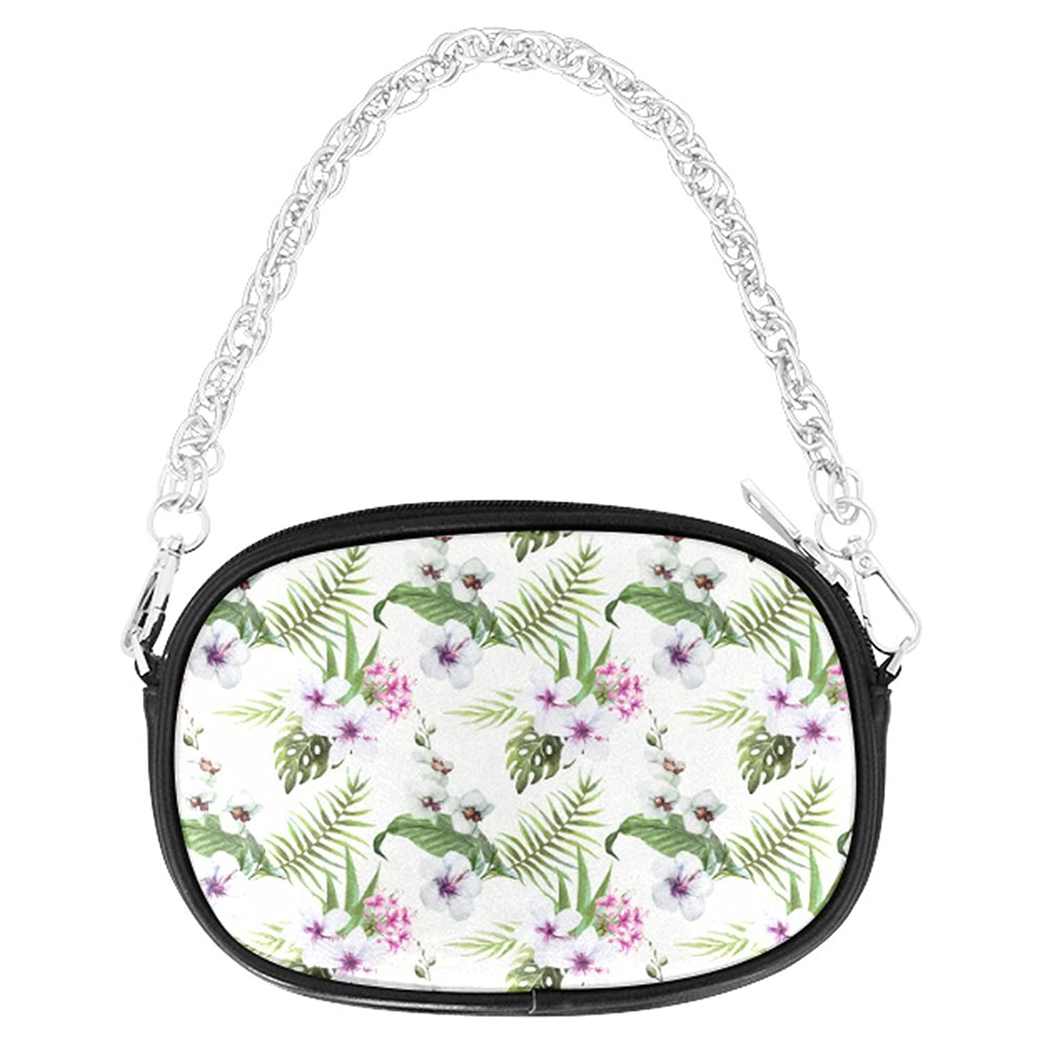 ADEDIY Tropical Hibiscus And Palm Leaves Chain Purse (M1626) Mini Handbag