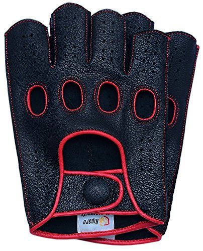 (Riparo Mens Genuine Leather Reverse Stitched Half-Finger Driving Motorcycle Gloves (Medium, Black/Red))
