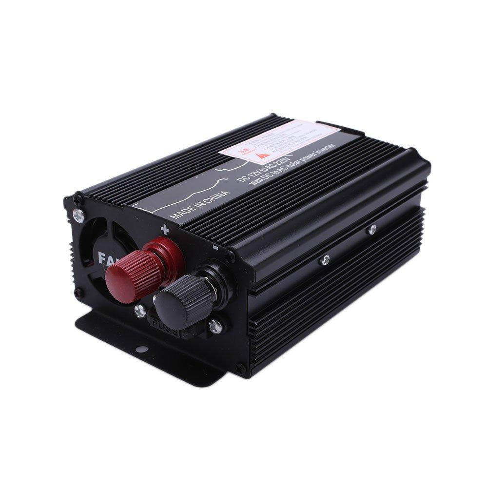 TOPmountain Onduleur de Voiture Noir 12-220V 24V vers Ac220V avec Affichage et Port USB pour inverseur de Voiture convertisseur continu 1200W Dc12