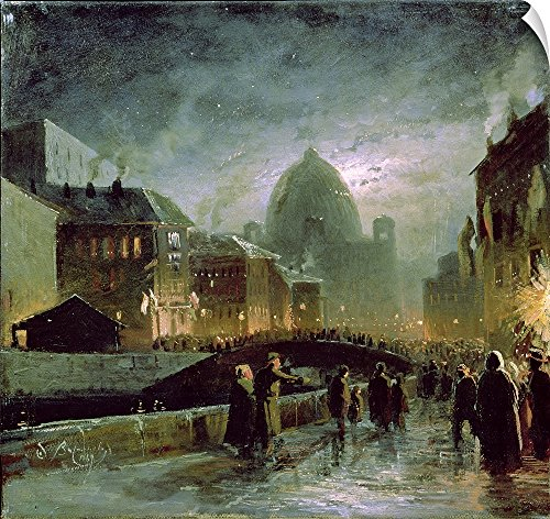 Canvas on Demand Fedor (1850-1873) Vasiliev Wall Peel Wall Art Print entitled Illuminations in St. Petersburg, 1869 (Party City St Petersburg)