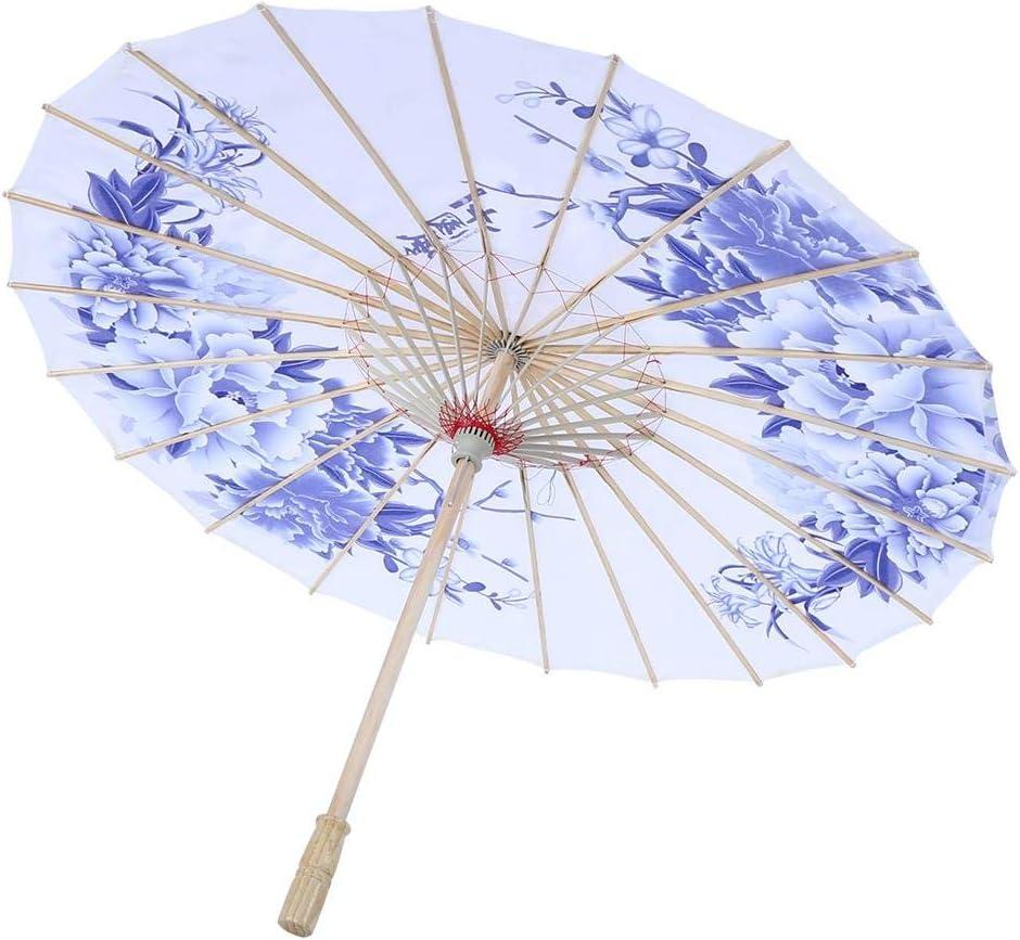 TOPINCN Oil Paper Umbrella Women Handmade Rainproof Handmade Umbrella Windproof Flower Pattern Chinese Classical Dance Umbrella(Blue)