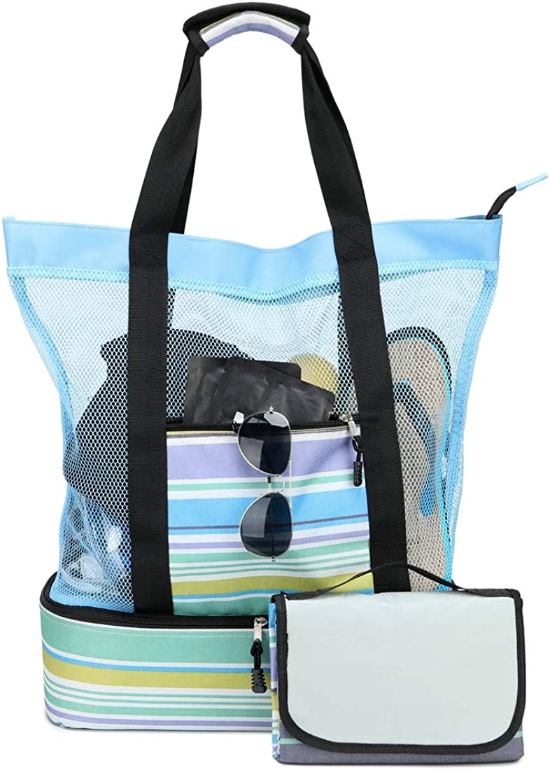 Acmebon Large Mesh Beach Tote Bag with Picnic Blanket and Built-in Insulated Cooler