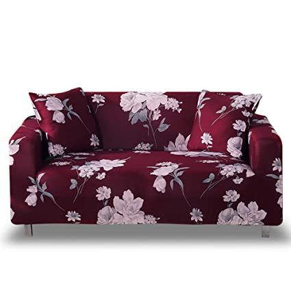 HOTNIU Stretch Sofa Cover 1-Piece Printed Couch Cover Sofa Slipcovers for Couches Polyester Spandex Furniture Cover/Protector with Elastic Bottom & ...