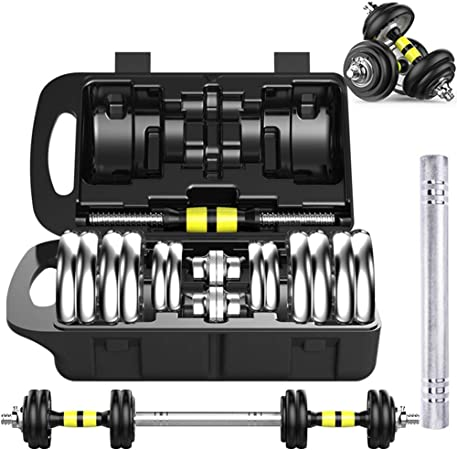 WOLFE Fitness 30KG Cast Iron Adjustable Dumbbell Set Gym Weights Training 2x15KG