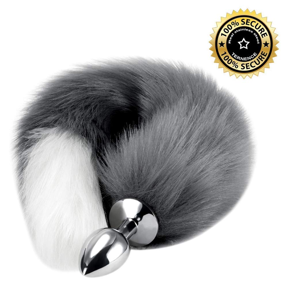 Anal Butt Plug Stainless Steel Anal Stopper Smooth Anus Toy with Faux Fox Tail
