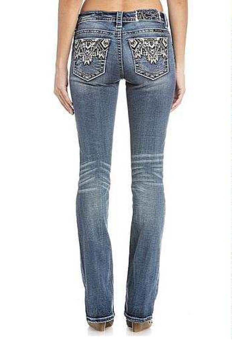 Miss Me Come Together Aztec Medium Wash Mid Rise Boot Cut Jeans M3178B, 30