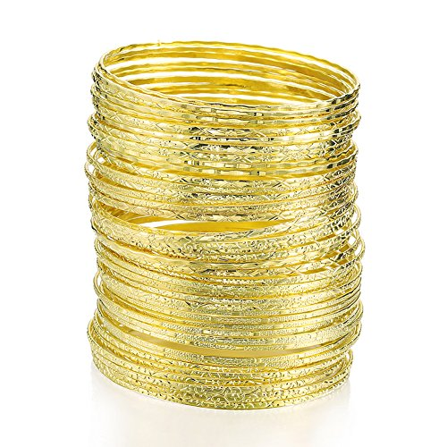 (ENSOUL Flower Mixed Metal Aztec Multi Bangle Set of)