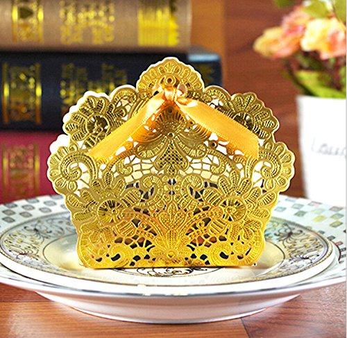 Saitec ® 50pcs Gold Laser Cut Wedding Favor Boxes Wedding Candy Box Casamento Wedding Favors And Gifts event party supplies