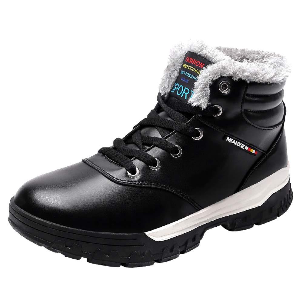 LANSEYAOJI Hombres Botas de Nieve Invierno Calentar Fur Forrado Botines Al Aire Libre Cálido Botas Casual Plano Zapatos con Cordones Cuero Zapatos Deportivos Impermeable Tamaño Grande