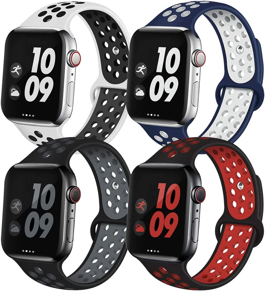 EXCHAR Sport Band Compatible with Apple Watch Band 42mm Series 3/2/1 Breathable Soft Silicone Replacement Wristband Women and Men for iWatch 44mm Series 6/5/4 Nike+ All Various Styles S/M 4 Pack
