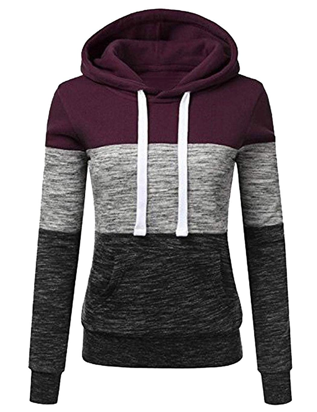 Kindes Women Casual Sweatshirt Patchwork Long Sleeve Hooded Pullover with Front Pocket Fashion Hoodies