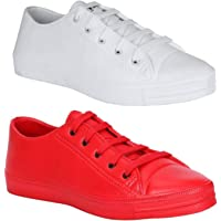 My Cool Step Tennis Red & White Shoes for Men (Combo of 2 Shoes)