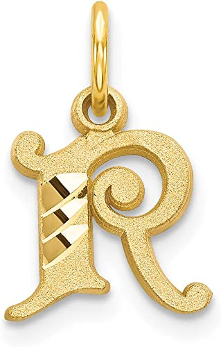 Mireval 14k Yellow Gold Initial a Charm 10 x 17 mm