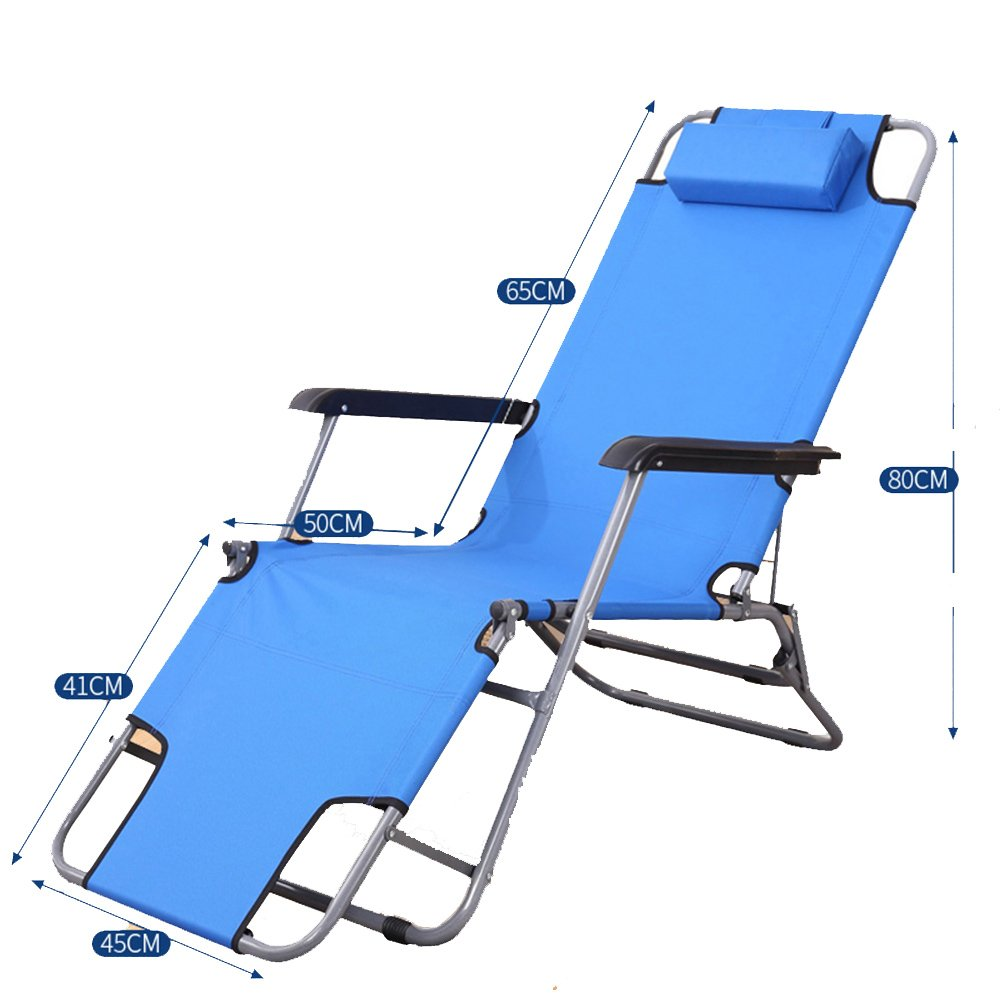 XXHDYR Sommer Liegestuhl Klappstuhl Balkon Büro Mittagspause Stuhl Strandkorb Faulen Stuhl Klappstuhl (Farbe : Blau)