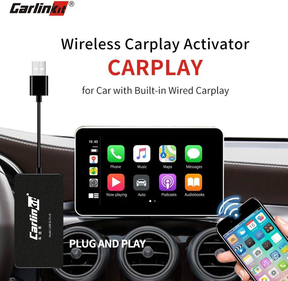 Carlinkit Adaptador inalámbrico para carplay Adaptador activador original para carplay Adaptador para Audi/Volvo/Benz/Porsche con carplay Soporte Botón para volante iOS 13 Ventanas múltiples