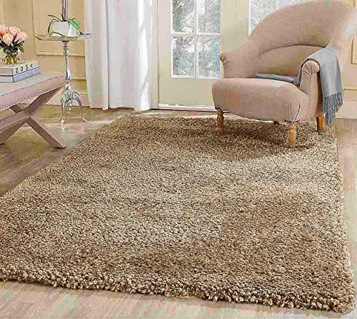 LA Rug Linens 8x10 Large Plain Beige Cream Tan Oatmeal Sand Color Shag Shaggy Fluffy Fuzzy Furry Flokati Soft Solid Plush Medium Pile Modern Contemporary Bedroom Living Room Sale-Popcorn Beige -