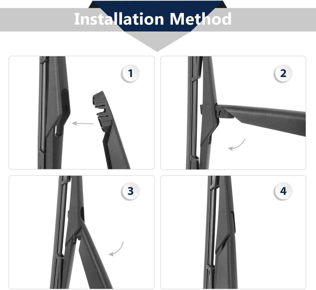 X AUTOHAUX Black Vehicle Rear Windscreen Wiper Blade Arm Kit 320mm 13inch