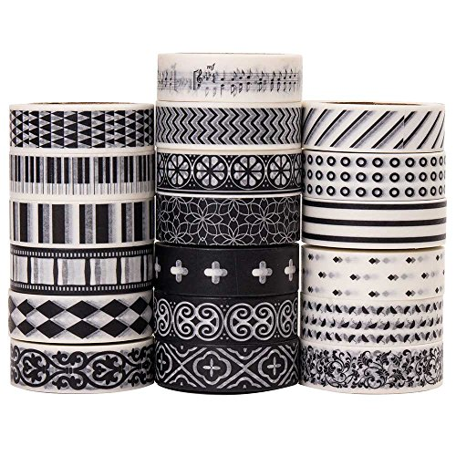 Savena Washi Tape Set for DIY Gift Wrapping Scrapbooking and Craft, Sticky Adhesive Paper Masking Tape with Lovely Printed Patterns and Long-Lasting Colors (19 Rolls, Monochrome, 0.6in x 32.8ft) -