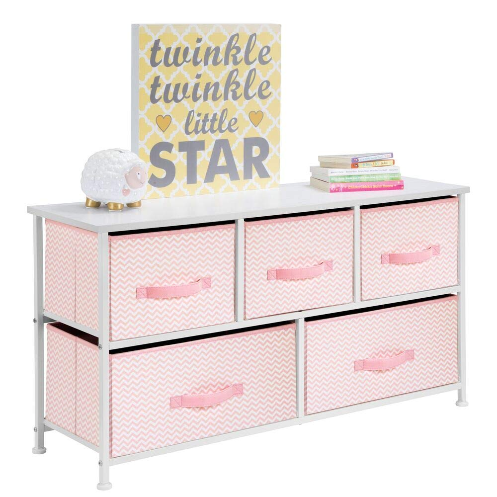 Pink White mDesign Fabric 5-Drawer Dresser and Storage Organizer Unit for Bedroom Dorm Room - Linen