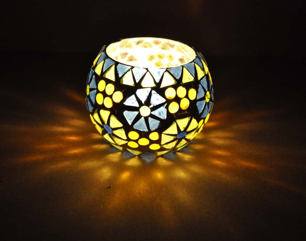 Indian Home Decorative Mosaic Glass Designer Tea Light Candle Holder 8 Cm Lal Haveli HND01235