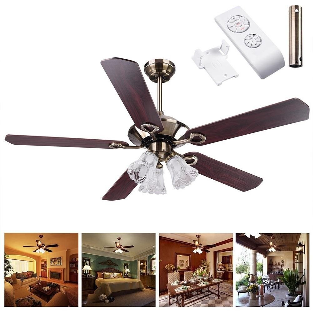 Beth Home 52'' Bronze Finish Ceiling Fan Light Kit Reversible Remote Control Indoor