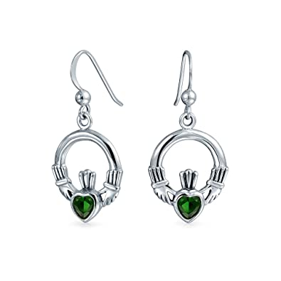 3e2521852 Image Unavailable. Image not available for. Color: Claddagh Celtic  Friendship Circle Kelly Green Heart Dangle Earrings ...
