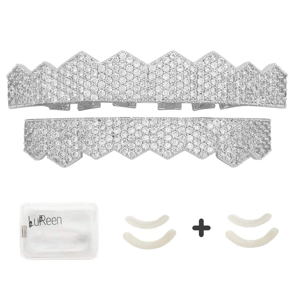 LuReen 14k Gold Silver Plated Pave Full Iced Out CZ 8 Teeth Grillz Set + 2 Extra Molding Bars (Silver Set)