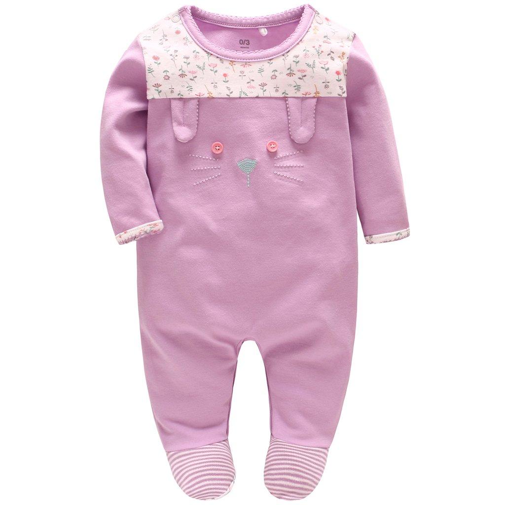 Pyjama Bébé Filles Barboteuses Combinaisons en Coton Grenouillères Princesse Outfits Vêtements de Naissance
