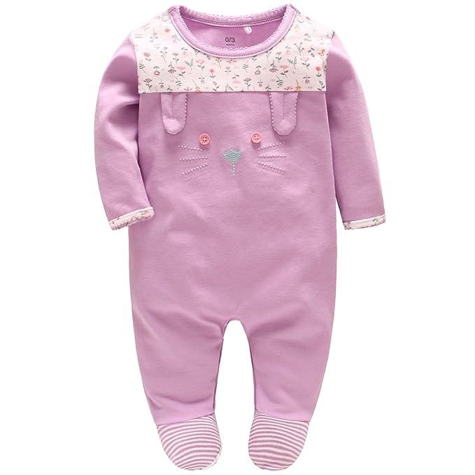 Recién nacido Peleles Niñas Pijama Algodón FOOTIES Mameluco Tuta Princesa Trajes, 0-3 Meses