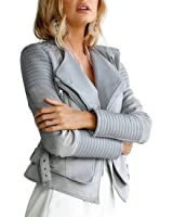 She'sModa Suede Padded Shoulder Leather Jacket for Women Slim Fit Winter Coat Moto Leather Jackets Grey