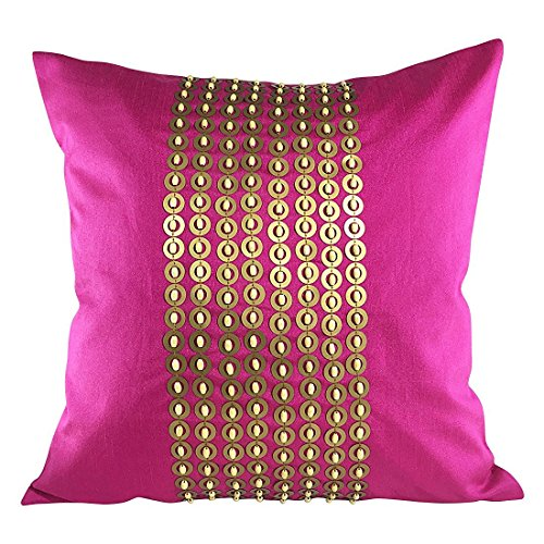 The White Petals Fuschia Pink Gold Decorative Pillow Cover with Gold Sequins and Wood Bead Embroidery in Panel Pattern (16x16 inch, Fuschia Pink)