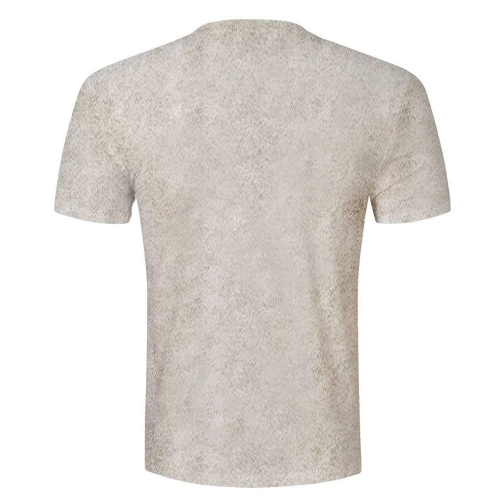 Xilocce Mens Fashion Leisure 3D Holes Printed Strange Short-Sleeved T-Shirt Blouse Top