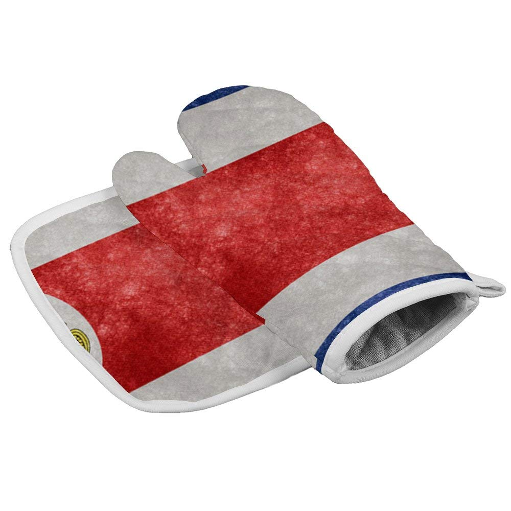July-Seven Costa Rica Flag Oven Mitts,Professional Heat Resistant Microwave BBQ Oven Insulation Thickening Cotton Gloves Baking Pot Mitts with Soft Inner Lining