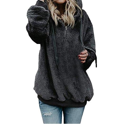 Malloom-Chaqueta Suéter Abrigo Jersey Mujer Invierno Talla Grande Hoodie Sudadera con Capucha Mujer Caliente y Esponjoso Top